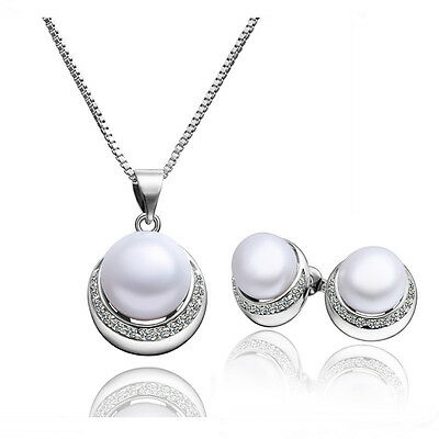 Elegant Silver & White Pearl Round Jewellery Set Stud Earrings & Necklace S376