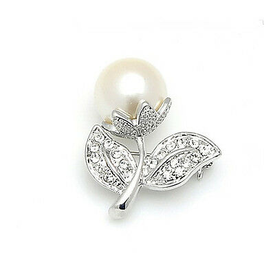 Elegant Silver & White Pearl Diamante Flower with Leaves Bridal Brooch Pin BR151