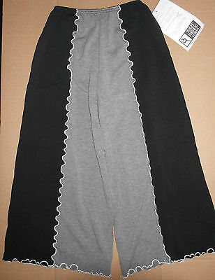 NWT Black and Heather Grey Dance Pants with Fluted Seams Elastic Waist Med Child