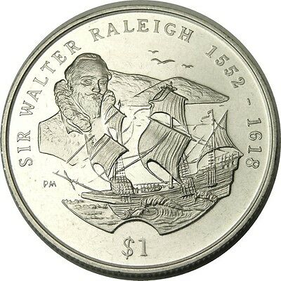 elf British Virgin Islands 1 Dollar 2002  Sir Walter Raleigh   Ship