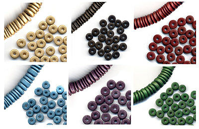 15g pack of Greek ceramic 8mm spacer beads with mixed widths - choice of colours