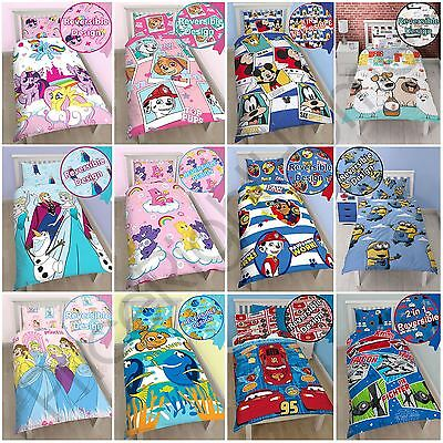 Kids Girls Boys Disney Character Single Duvet Cover Sets - Princess, Nemo, Cars