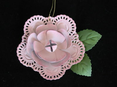 Metal Pink ROSE Novelty jingle Bell Ornaments ~NEW 3pc valentine flower