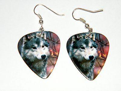 WOLF EARRINGS GRAY WOLVES SILVER PLATED EAR WIRES Pictures Both Sides Pick NEW!