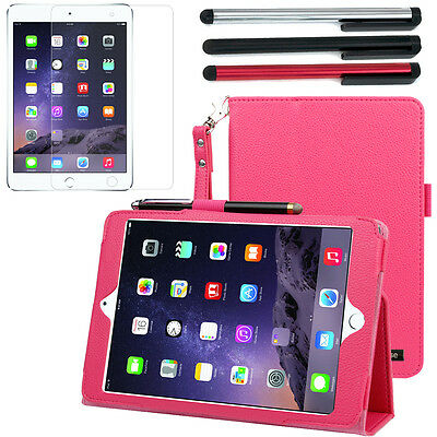 Hot Pink Leather Stand Cover Case+LCD+3x Stylus For Apple iPad Mini 3 / Mini 2