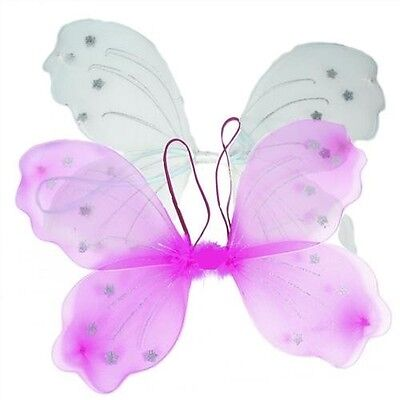 Large Girls BUTTERFLY ANGEL WINGS Fairy Flower Star Party Princess Tinkerbell