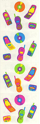 Mrs. Grossman's Stickers - Teen Tech - Neon Color Cell Phones, CDs - 4 Strips