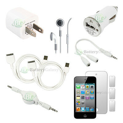 10 pcs Bundle Kit White 2x USB Cable+Wall Charger for Apple iPod Touch 4 4th Gen
