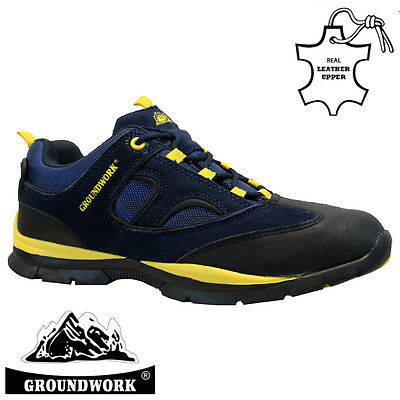 Mens Groundwork Leather Safety Work Boot Steel Toe Cap Shoes Trainer Hiker Size