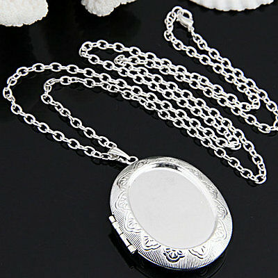 """Silver Plated Oval Photo Picture Locket Pendant Necklace Chain 2x1.5"""""""