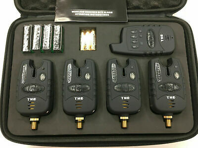 Wireless Carp bite alarms & Receiver. Running LED's, Jacks, Carp, coarse, Case