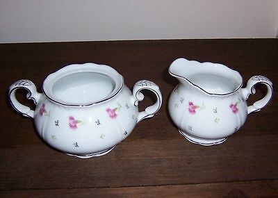 SUMMER SONG - Fine China of Japan - Creamer & Sugar Bowl - Cream Pitcher
