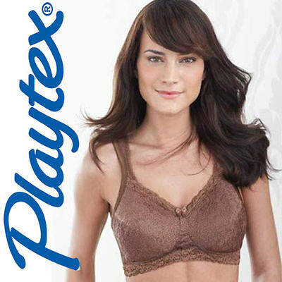 PLAYTEX 4088 85 BROWN WIRE FREE COMFORTABLE LACE SOFT CUP BRA LINGERIE