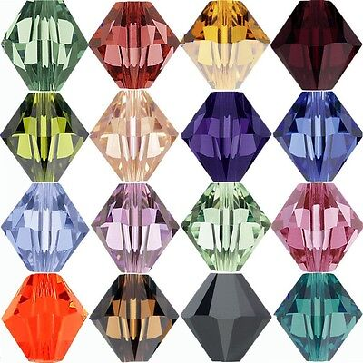 Wholesale 100pcs loose glass crystal bicone spacer beads 4x3mm