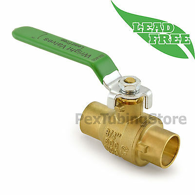 "(10) 3/4"" Sweat (CxC) Lead-Free Brass Ball Valves, Full Port 600psi WOG"