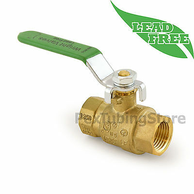"1/2"" NPT Threaded Lead-Free Brass Ball Valve, Full Port, 600psi WOG"