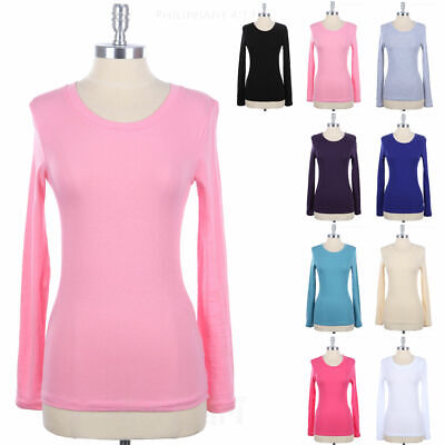 Women's Basic Solid Crewneck Long Sleeve Tee Shirt Top Plain Casual Cotton S M L