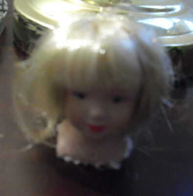 Porcelain Bisque Small Girl Doll Head and Shoulders Long Blonde Hair