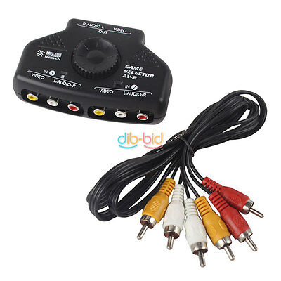 2 Way Audio Video AV RCA Switch Selector Box Splitter 3 RCA Cable for XBox DBDB