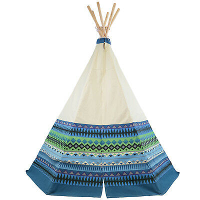 Blue Aztec Teepee Wigwam Play Tent Childrens Cotton Canvas Indoors or Outdoors