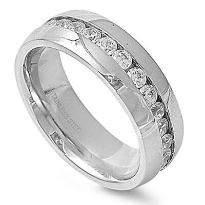 CLEAR CZ CHANNEL SET WEDDING BAND 316L Stainless Steel Ring SIZES 7-14