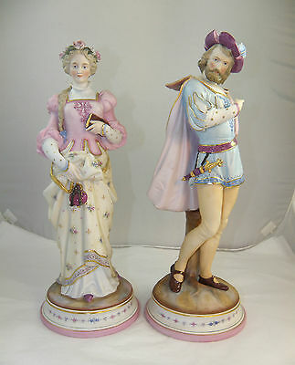 Magnificent Medieval Pair Of French Victorian Bisque Figurines