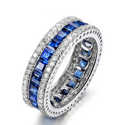 Women's Blue Sapphire Engagement Ring 10KT White Gold Filled Wedding Band Sz5-10