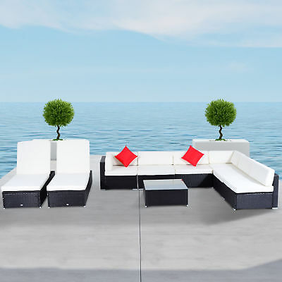 Deluxe Outdoor Rattan Wicker 9 Piece Sofa Sectional Patio Furniture Lounge Set