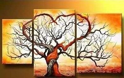3PCS large handmade modern landscape oil painting on canvas wall art (NO FRAME)