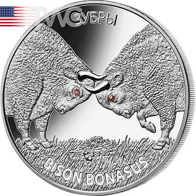 Belarus 2012 20 rubles BISON BONASUS. Bisons Proof Silver Coin