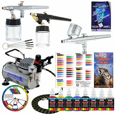 Master 3 Airbrush & Air Compressor Kit, 6 Primary Colors Acrylic Paint Set, Hose