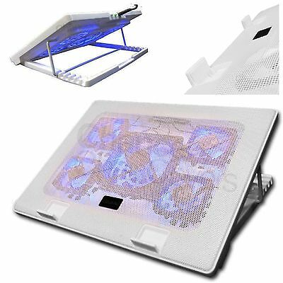"Laptop Cooler 5 Fan Cooling Stand Pad Blue Led 10-17"" Extra Usb Port S500 Wht"