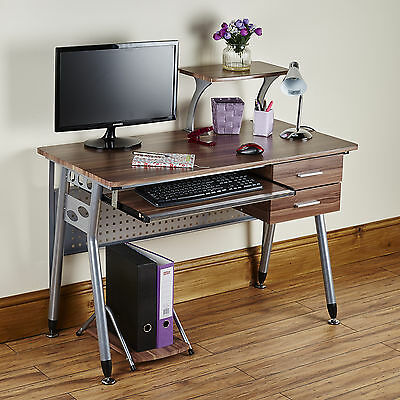 Computer Desk PC Table Folding Home Office Furniture L Shape Walnut Fold Away