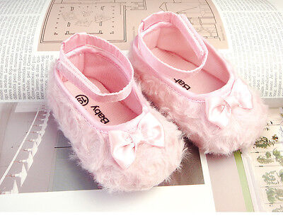 lovely pink minky princess bow girl shoes toddler girl shoes US size19,21,23