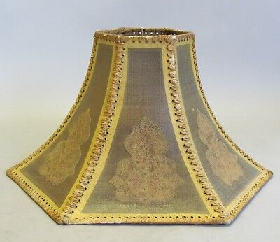 Rare Antique Coralene Canvas & Leather Lamp Shade  c. 1920  Arts & Crafts