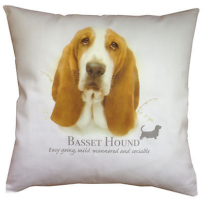 Basset Hound Breed of Dog Cotton Cushion Cover with Story - Perfect Gift