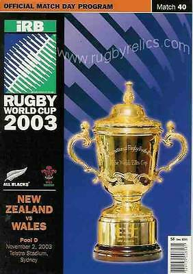 NEW ZEALAND v WALES 2003 RUGBY WORLD CUP PROGRAMME