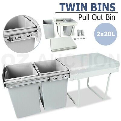 40L Pull Out Bin Kitchen Waste Dual Slide Out Garbage Rubbish Trash Twin Cabinet