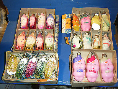 4 BOXES OLD RUSSIAN X-MAS ORNAMENTS S. WHITE+7 DWARFS, 3 L .PIGS, ANIMALS,  $39