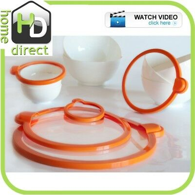 NEW 5pc MAGIC SILICONE LIDS CONTAINER VACUUM SEAL FOOD STORAGE CONTAINERS SET