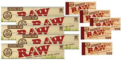 5 RAW Organic Hemp King Size Slim Cigarette Rolling Papers + 5 packs Wide Tips