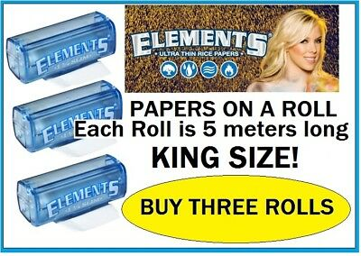 3 ROLLS KING SIZE ELEMENTS Cigarette Papers On a ROLL almost 50 feet of rolling!