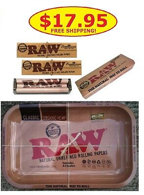 RAW rolling Tray 7x11-Connoisseur papers w/Tips-110mm Roller and FREE Scoop Card