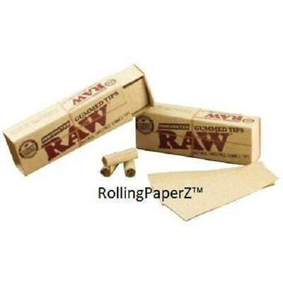 6 PACKS RAW GUMMED TIPS Perforated Cigarette Rolling Paper tips Chemical FREE!