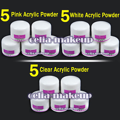 5Pc Clear Pink White Acrylic Powder For Liquid Nail Art Tips UV Gel Kit Set