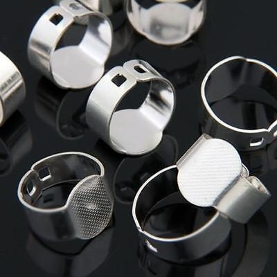 """10 Silver Plated Oval Adjustable Ring Blanks Pad Base Findings 0.6"""""""