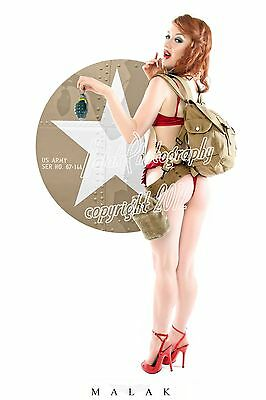 WWII Army Cheesecake PinUp Michael Malak Giclee Jess with Grenade 11X17
