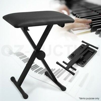 Portable Adjustable 3 Way Folding Keyboard Piano Stool Seat Bench Chair Black