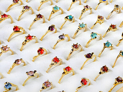 CHIC Wholesale Jewelry Lots 30PCS Rhinestone Gold Plated Rings New Free shipping