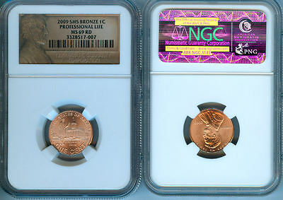 2009-P Satin Professional Life Lincoln Penny  Ngc  Ms-69 Red Bronze Label